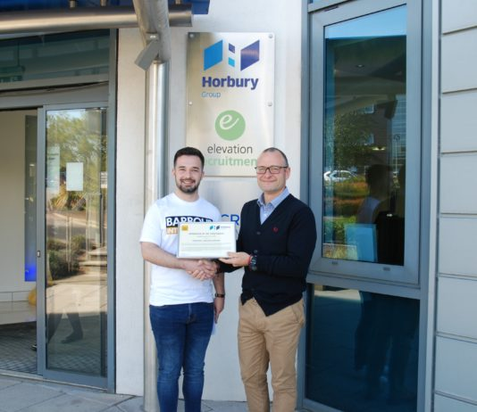 Jordan Bew who is completing an apprenticeship with Horbury Group is pictured with Darren Sayles, estimating manager at the company