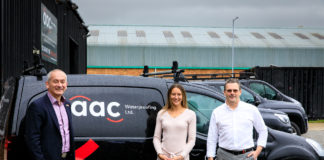 Andy Porter and Laura Hibbert from AAC Waterproofing with Martin Emmott from Catalyst Finance