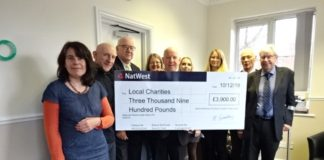 Martin-Brooks directors, Gerald Brooks (third right) and Jeremy Martin (centre) with representatives from the charities the firm supports