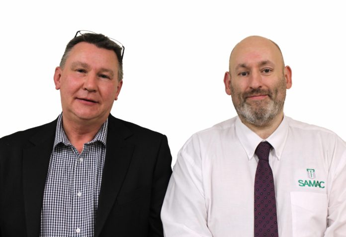 Samac's new area sales managers (left to right) Steve Fielding and James Drury