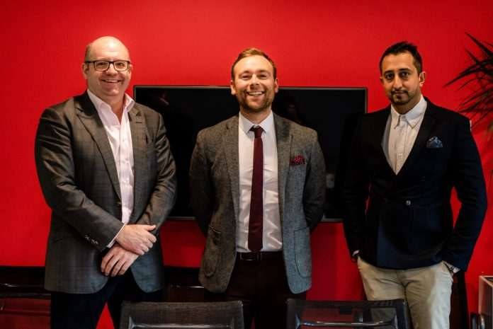 Left to right: Comhar Capital's Craig Wilkinson, with TaperedPlus directors Robert Vass and Aman Chahal