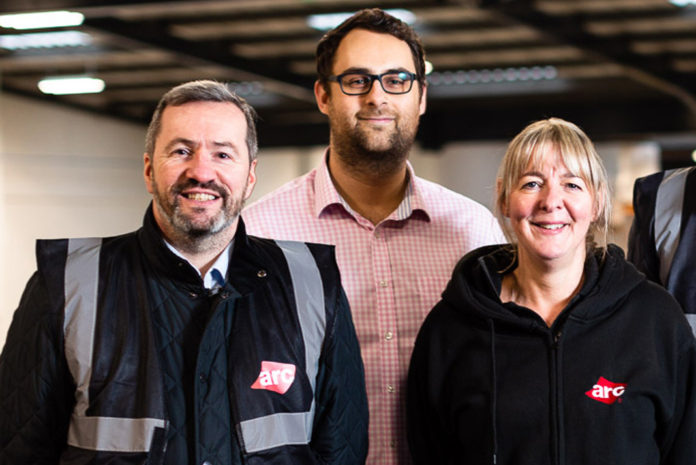 Left to right: George Danzey-Smith, commercial manager (left) with Neil Weeks, managing director at ARC (centre) and Claire Richardson, operations manager (right)