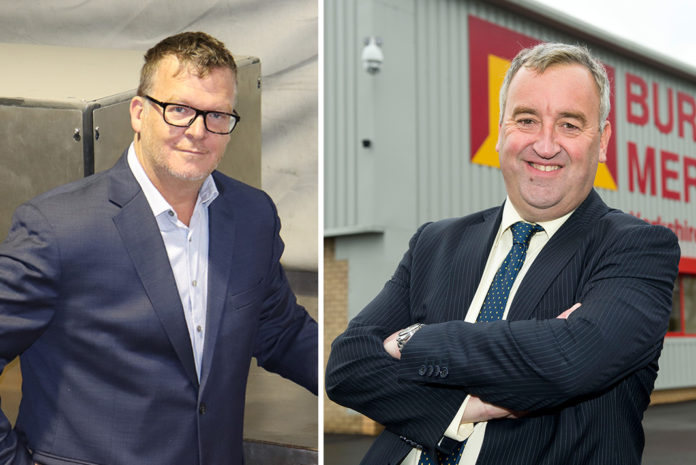 Left to right: Stephane Therrien, general manager of Glendyne and Paul Hattee, managing director of Burton Roofing Merchants