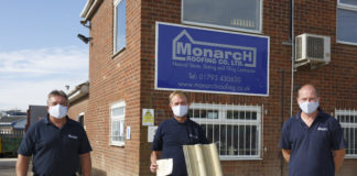 The Monarch Roofing team celebrates winning the BMI Redland Golden Tile promotion