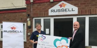 Left to right: Sarah Hansen, a sister in the A&E department at Derby and Burton Hospitals Charity, and Andrew Hayward, managing director at Russell Roof Tiles