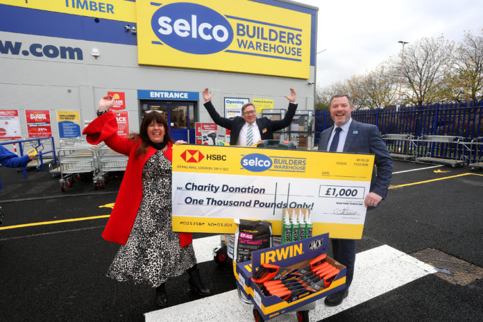 Left to right: Alison Taylor (Salford Women's Centre manager), Kevin O'Rourke (Selco Salford branch manager) and Stuart Chamberlain (Selco Builders warehouse regional director)