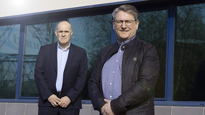 Left to right: David Moore, chief executive officer of Bond It Group and Dean Morgan, managing director of Bond It's UK operation