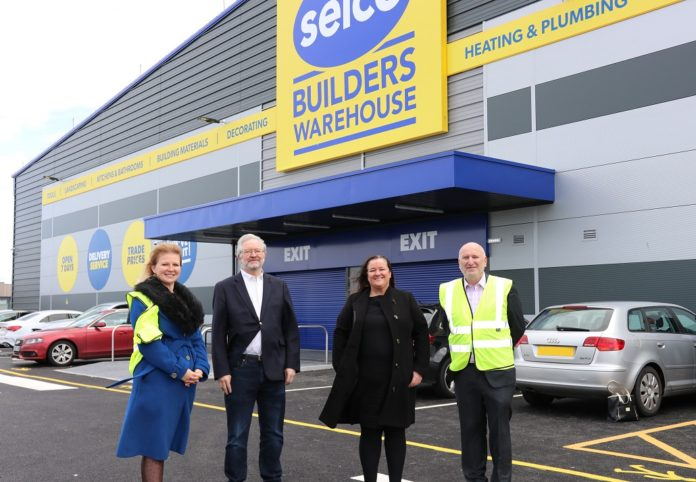Left to right: Carine Jessamine (marketing director of Selco), Peter Dowd MP, councillor Marion Atkinson and Howard Luft (chief executiver officer of Selco Builders Warehouse)