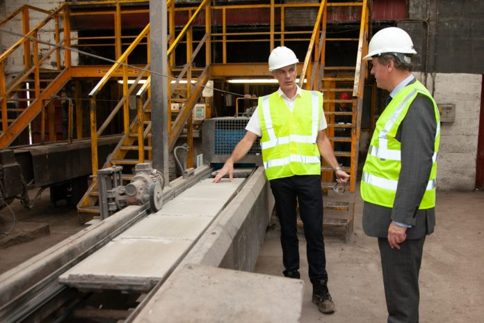 From left to right: Bruce Laidlaw, production director at Russell Roof Tiles and Scottish Secretary of State Alister Jack.