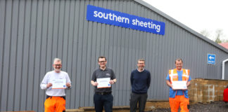 (from left) Yard supervisor Gary Brehme, sales manager Dan Hill, managing director Tony Hobbs and yard operative Craig Vatcher.