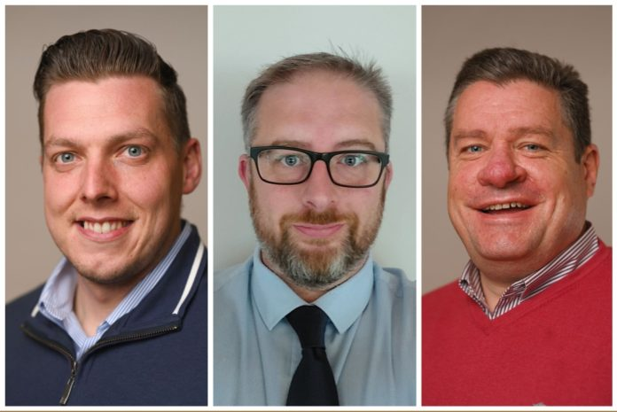 From left to right: Dave Halleran, Ray Blake and Ian Kelly are Keylite Roof Windows' new area sales managers.