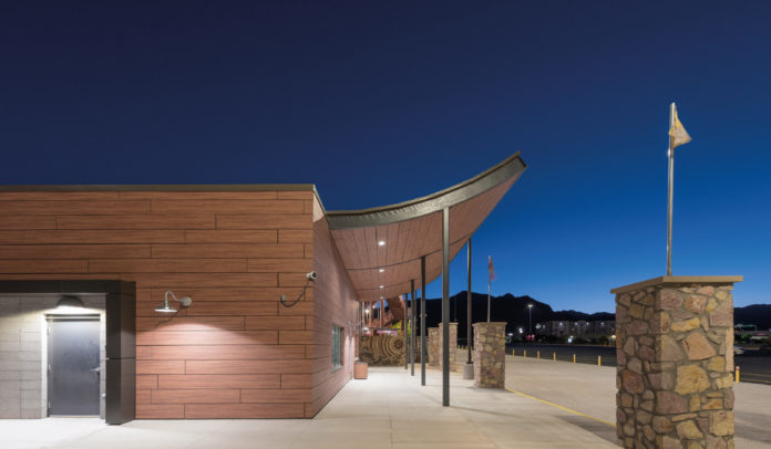 MEG was specified as the architects were looking for wood effect cladding which would complement the camp theme and could be cut into planks to simulate a cabin.